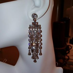 CACHE CRYSTAL BAGUETTE LINK CHANDELIER EARRINGS